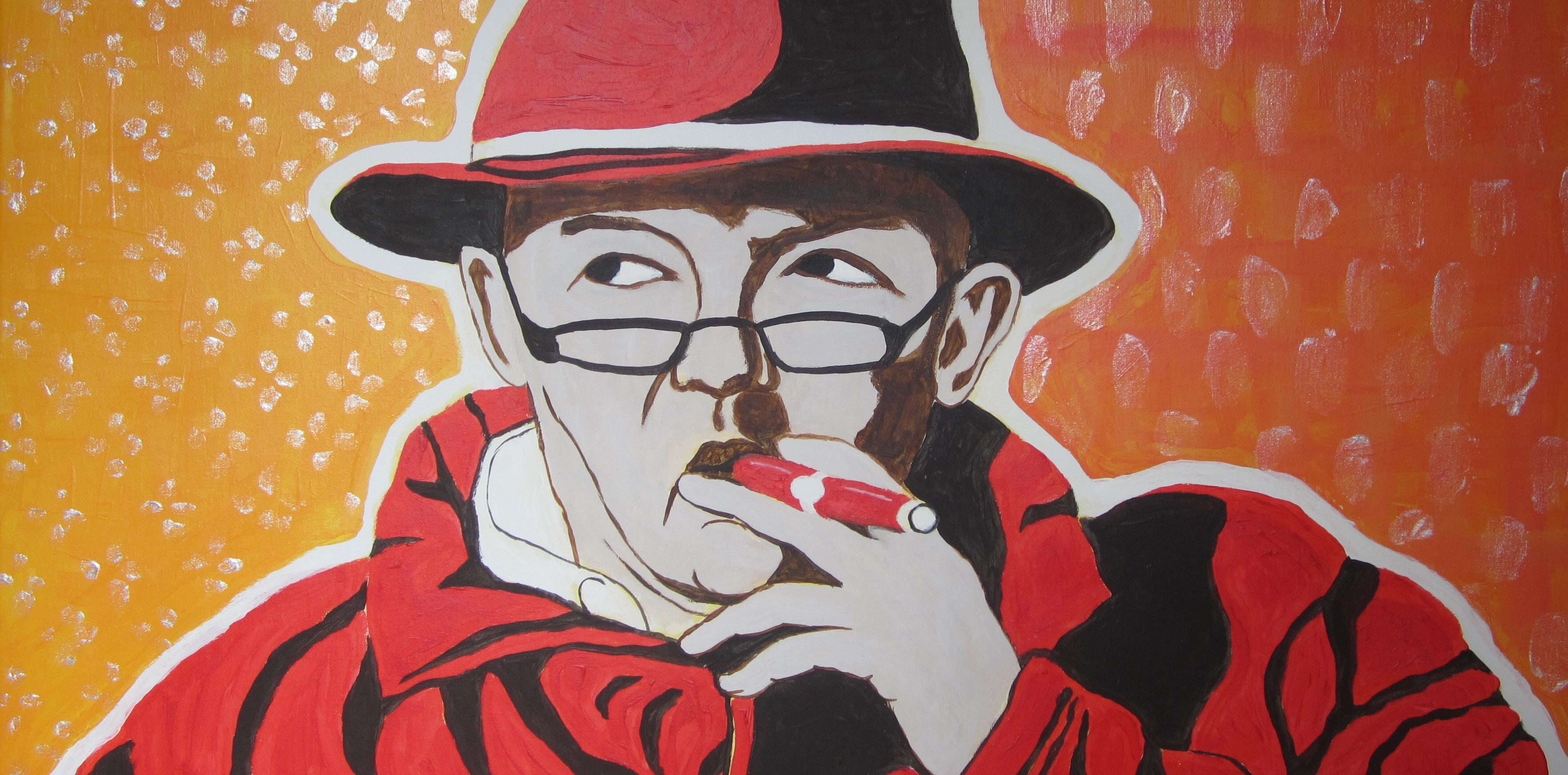 Mann mit Zigarre in rot